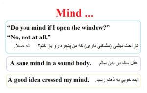 افعال پرکاربرد در زبان انگلیسی mind 1
